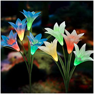 Solar Lights Outdoor - New Upgraded Solar Garden Lights, Multi-Color Changing Lily Solar Flower Lights for Patio,Yard Decoration, Bigger Flower and Wider Solar Panel (2 Pack,Blue and White)