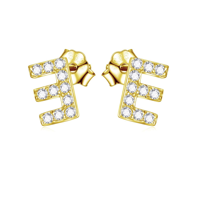 925 Sterling Silver Letter E Earrings Thin Initial Letter Earrings for Women