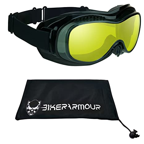 7766a3d3338 Amazon.com  Motorcycle Goggles Fit Over Glasses Yellow Polycarbonate Lens  for Men and Women with XXLarge Microfiber Cleaning Case Bomber Fit Over  Goggles  ...