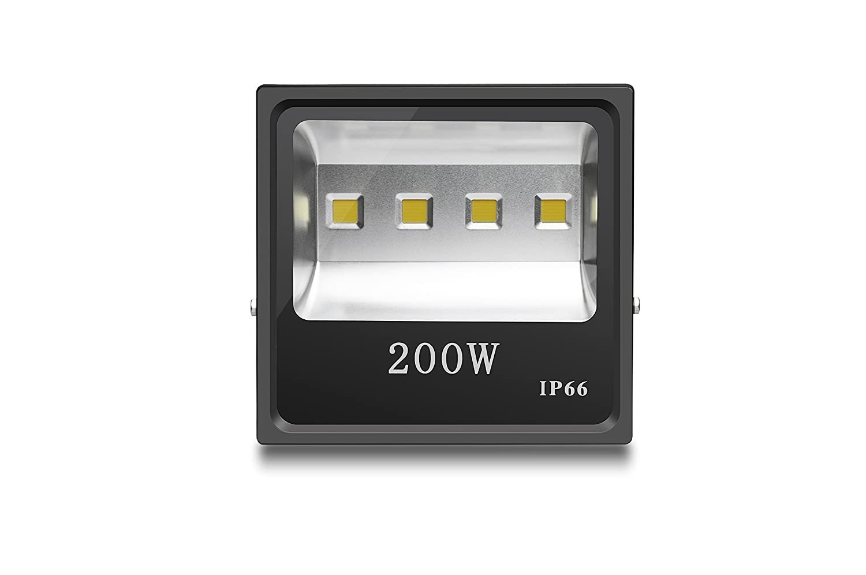 LEDフラットライト 投光器200W 超高輝度 省エネライト 作業灯 広角120度 防水IP66 安全照明 ブラック B07D3Q31M3 15500