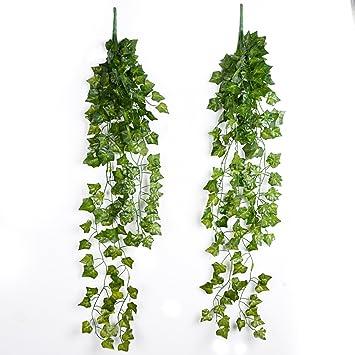 2pcs plantas colgantes enredaderas artificiales hiedras decorativas guirnaldas falsas para decoracin fiesta boda escalera pared exterior - Plantas Colgantes
