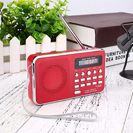 Amazon.com: Portátil Mini Radio FM, transparente altavoz ...