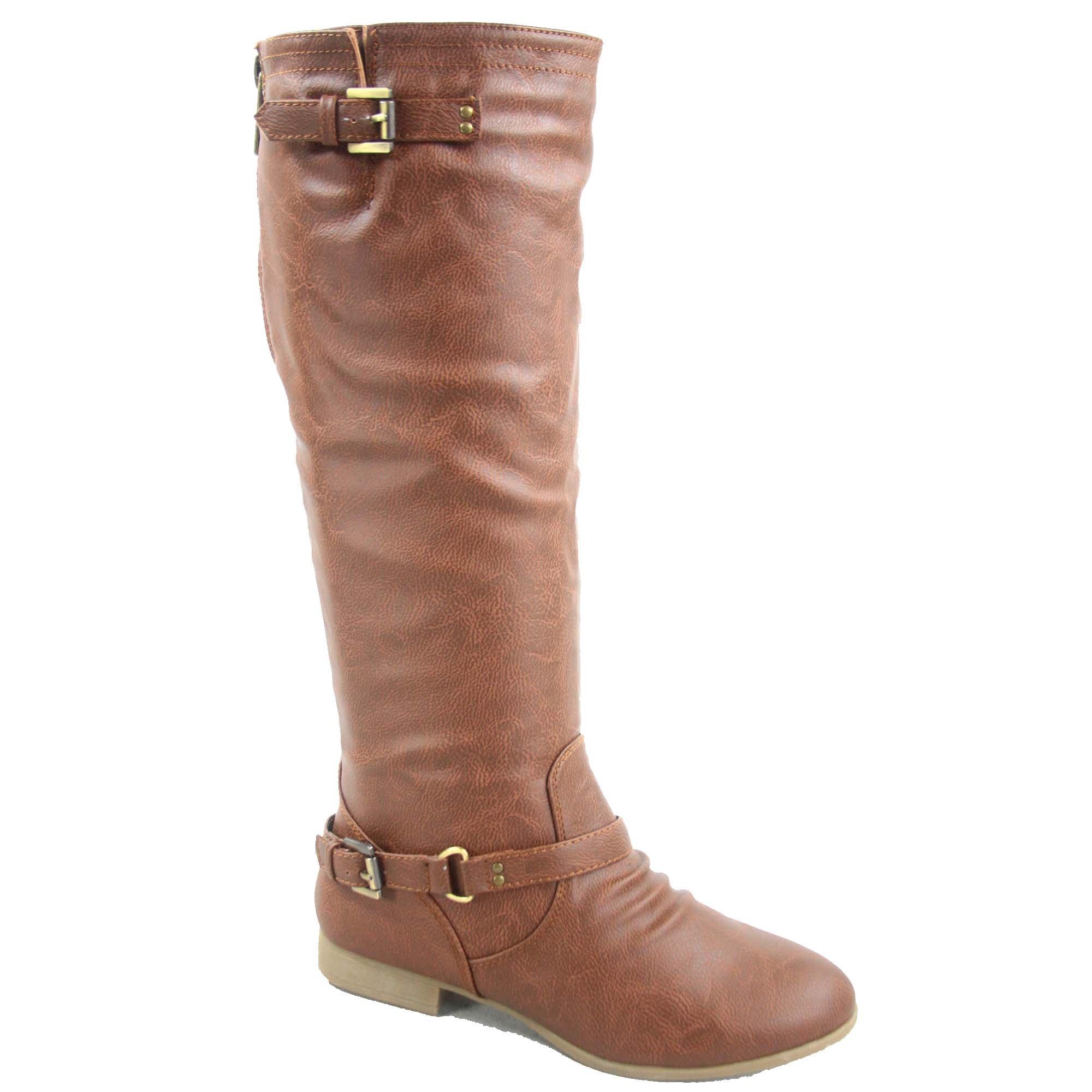 Top Moda Coco-1 Women's Fashion Military Low Heel Buckle Zipper Riding Knee High Boot Shoes (6, Tan)