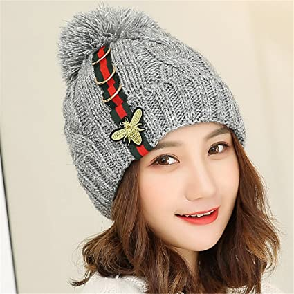 Hat Female Winter Fall and Winter hat Ladies Cute Cap Plus Velvet Elastic  Knit hat Padded 4e655897a15