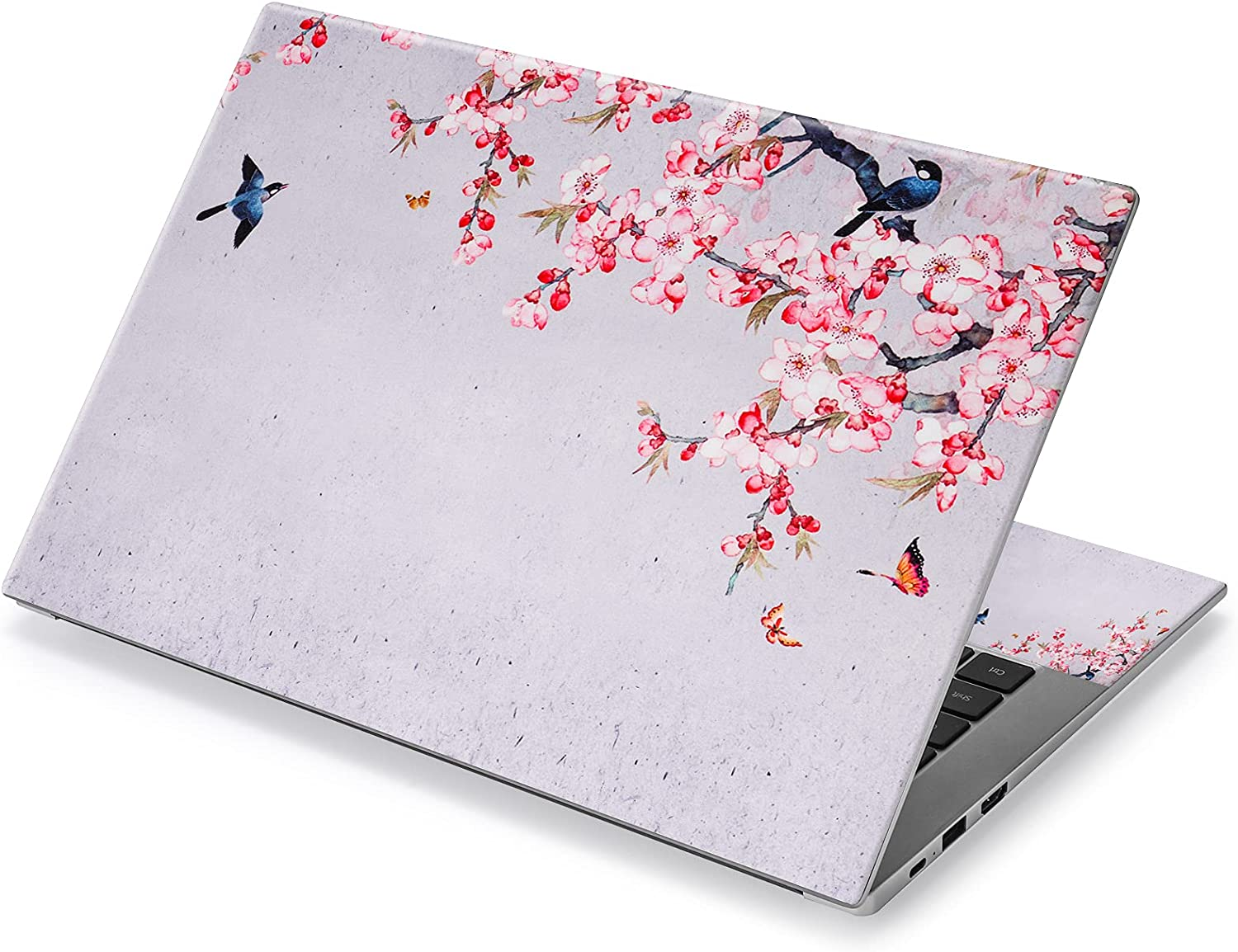 12.1 13 13.3 14 15.4 15.6 Inches Laptop Skin Sticker Decal Universal Netbook Skin Sticker Reusable Notebook Art Decal Protector Cover Decal by AORTDES (Birds Butterfly & Pink Flowers)