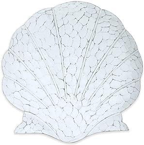 T.I. Design Hand-Carved Coastal White Scallop Shell Wall Decor