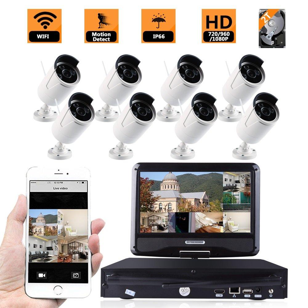 防犯カメラ130万画素 モニター付き 8CHワイヤレスカメラセット 内蔵HDD 2TB付き 無線 ワイヤレス WiFi監視カメラ8台 960P高画質 HD高画質 防水防塵 赤外線 暗視対応 遠隔監視対応 モーション感知 常時録画 B06XX7DFS8