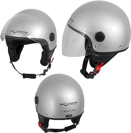 A Pro Motorradhelm Motorrad Roller Jet Helm Demi Mit Viser Silber S Auto