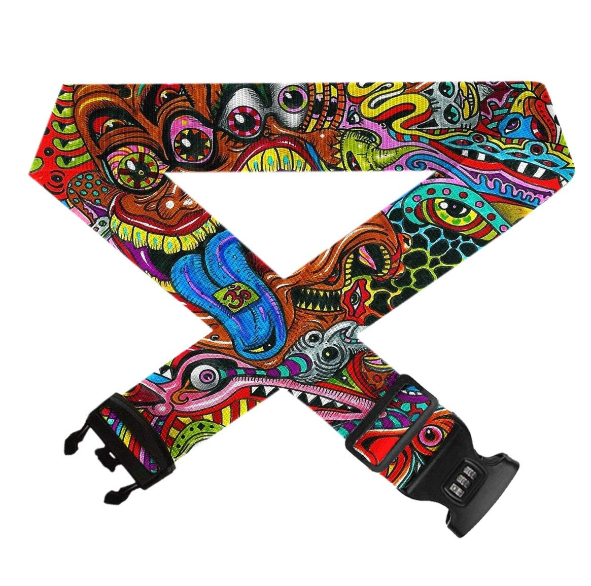 Adjustable Length Suitcase Straps Quick-Release Buckle Luggage Strap Psychedelic Trippy Art Suitcase Security Belt With 3-Dial Lock 41-74 L X 2 W