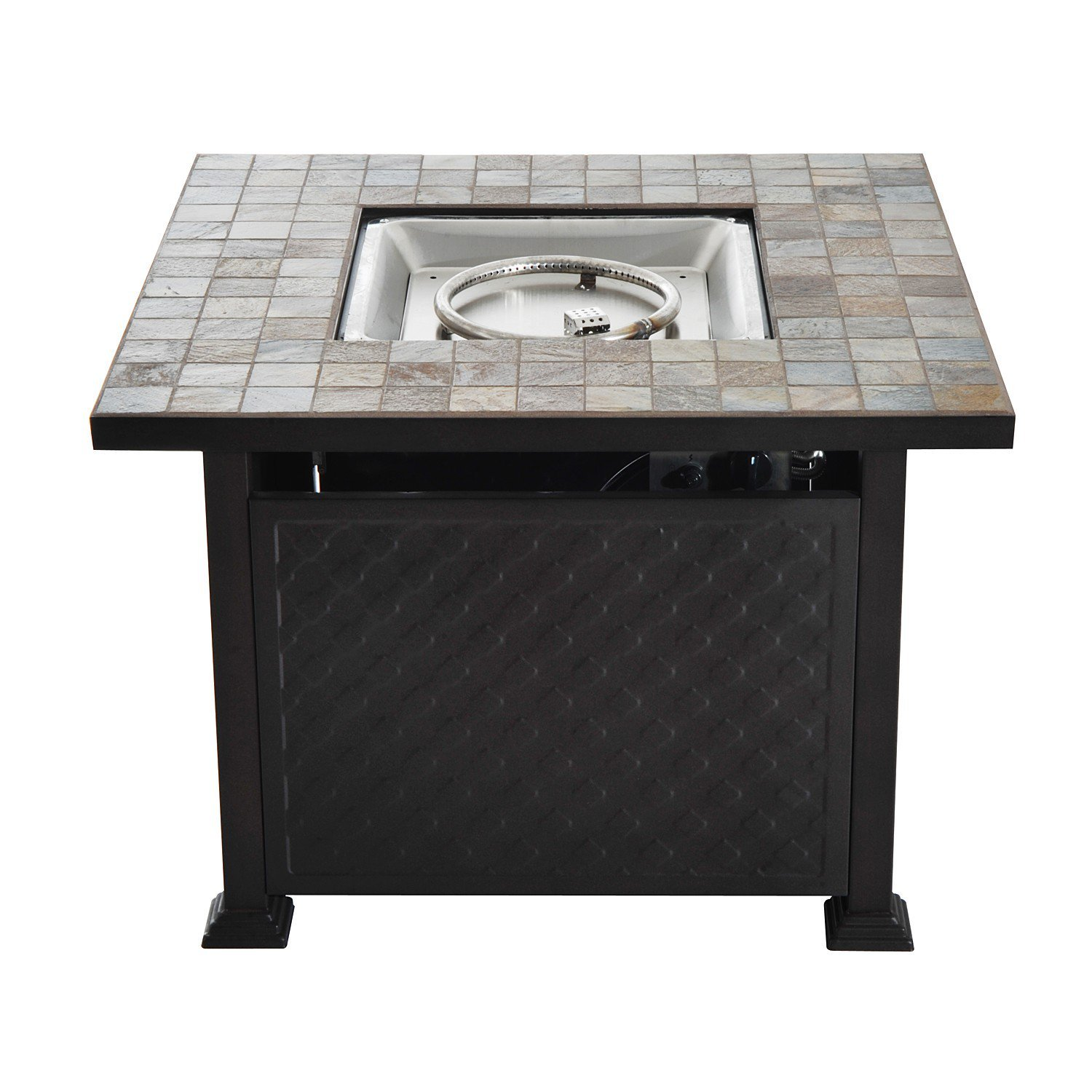 New LP Gas Fire Pit 45' Tile Slate Tabletop Wicker Base with ebook by MRT SUPPLY