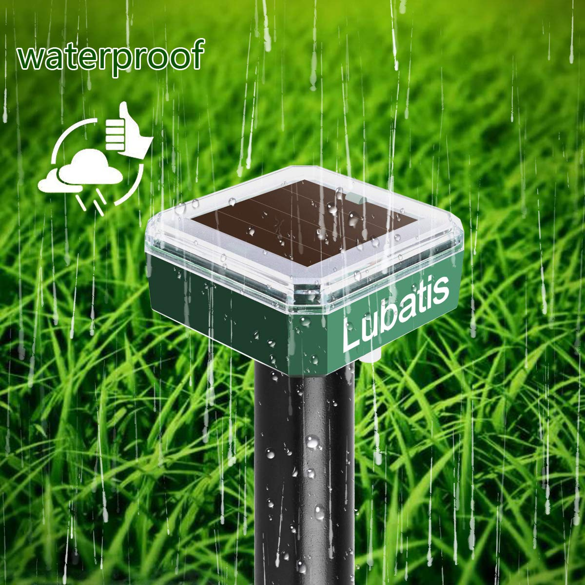 Lubatis 4 Pack Solar Mole Repellent Yard Stakes Sonic Mole Repeller Gopher and Vole Chaser Spike Deterrent Mole Control to Get Rid of Moles, Voles and Gophers