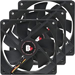 High Airflow PC Case Fan - 120 mm 3 Pin Dual Ball Bearing Cooling Fan with Thin Blades and Long Life. 3000 RPM Computer Fan for Desktop CPU Coolers, Radiators. 6.6 W 12v Fan (Single)