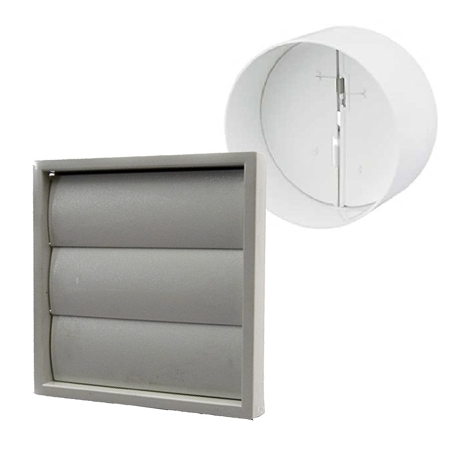Grey Gravity Square Extractor Air Vent & Back Draught Shutter 4 Inch Ducting Manrose DS-K2BJ-R0L6