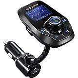 "VicTsing Manos Libres Bluetooth Coche Transmisor FM, Radio Musica Receptor Altavoz Bluetooth Coche FM, Reproductor de MP3 Transmitter, 1.44"" LCD, 5V/2.1A USB, Tarjeta del TF-Negro"