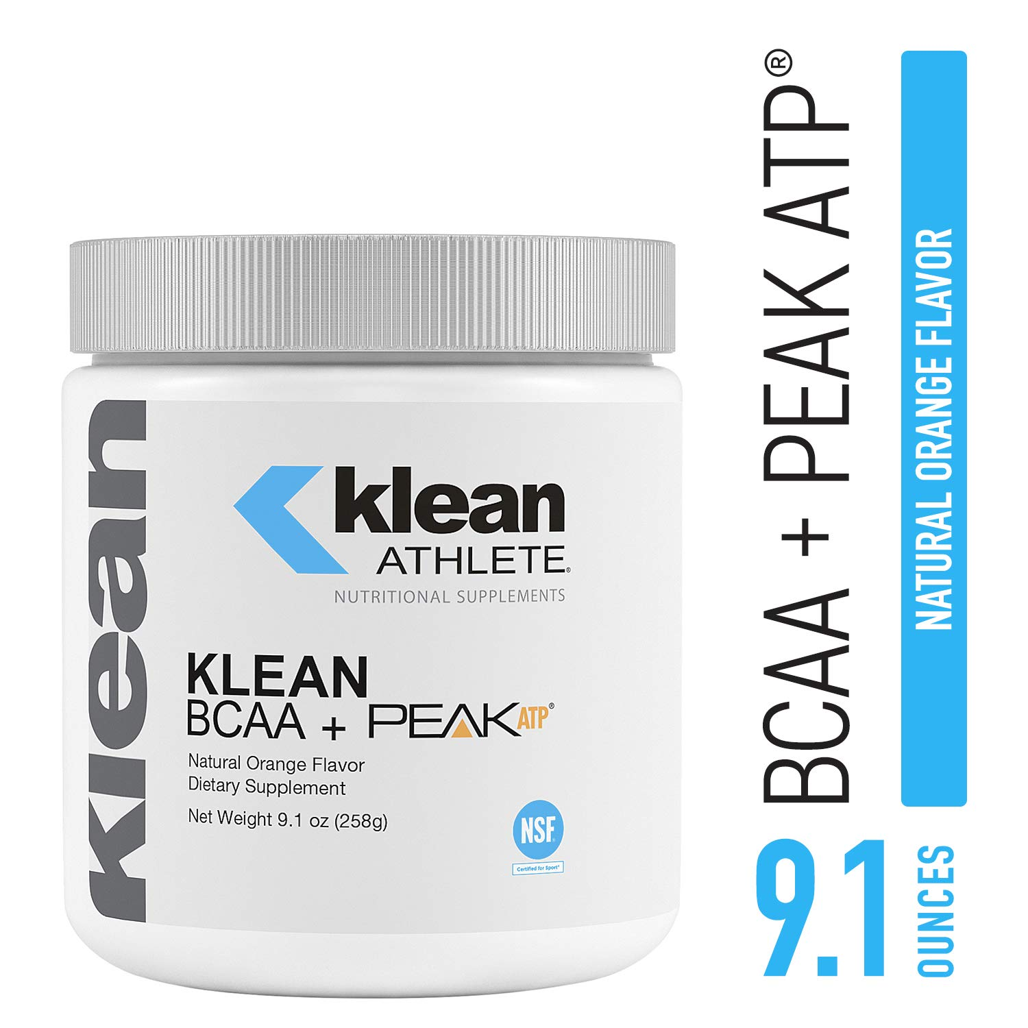 Klean Athlete – Klean BCAA Peak ATP – Branched Chain Amino Acids to Support Muscular Performance and Recovery* – NSF Certified for Sport – Natural Orange Flavor – 9.1 oz 258 g