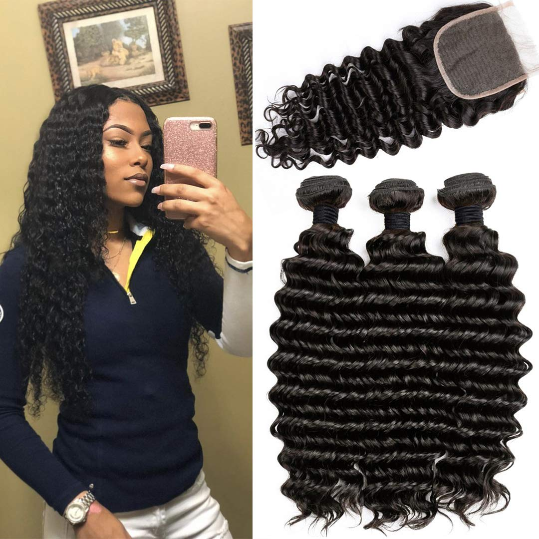 Brazilian Deep Wave Human Hair Bundles with Closure Unprocessed Virgin Human Hair Deep Curly Bundles with Free Part Lace Closure Natural Black(20 22 24+18 Closure)
