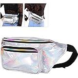 LUOEM Fanny Pack unisexe Laser PU en cuir taille sac de voyage brillant pour les sports de voyage en cours d'exécution (argent)