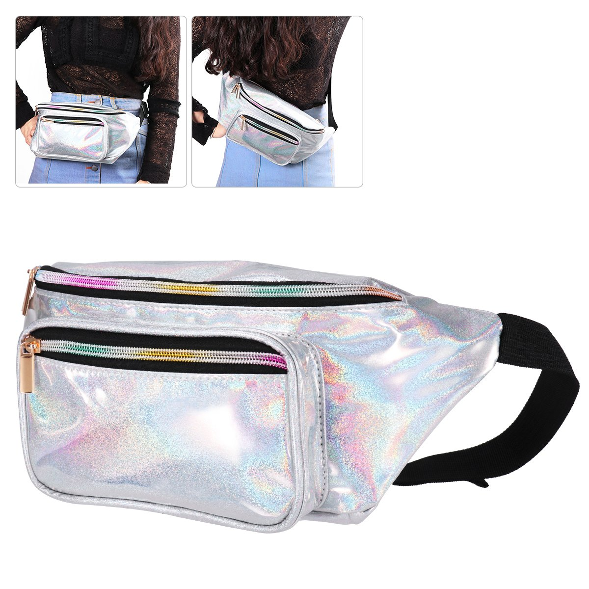 BESTOYARD Unisex Fashion Waist Bag Shiny Fanny Pack Belt Bag Waist Pouch Travel Running Cycling Sports Bag