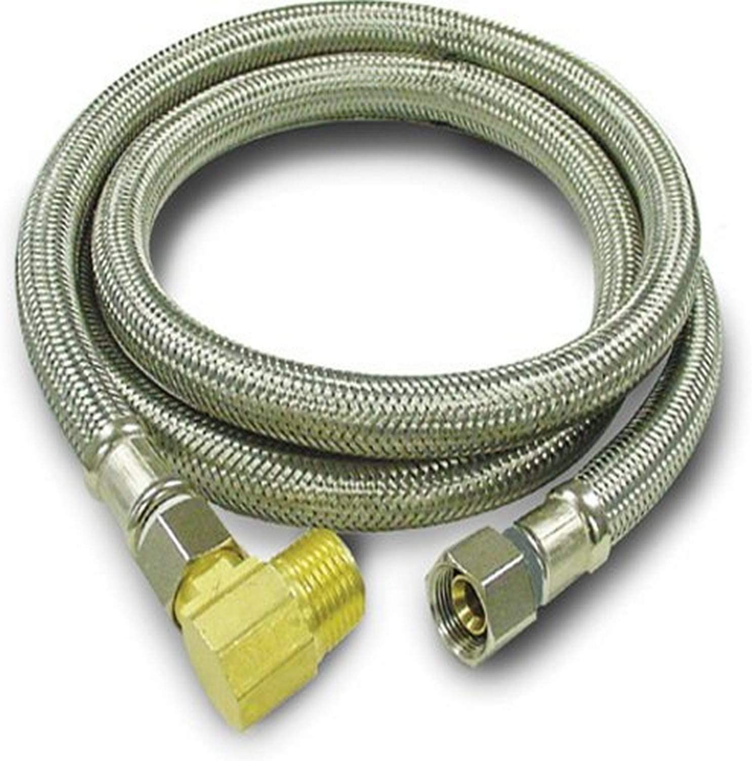 Kissler 88-2072 Braided Dishwasher Connector, 3/8-Inch by 3/8-Inch w/ 1/2-Inch Elbow, Stainless Steel