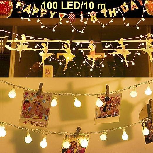 Ventdest Guirnalda Luces, Cadena de Luces, Guirnalda de Luces Impermeable 10m 100 LED 8 Modos Decorativas para Jardines, Casas, Boda, Fiestas, Fiesta de Navidad (Blanco Cálido): Amazon.es: Iluminación