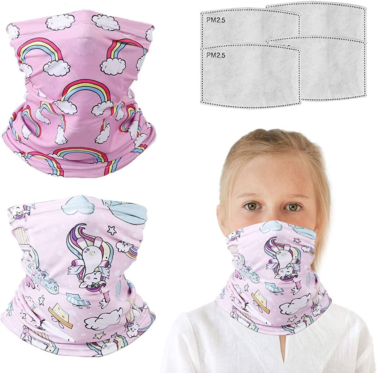 6 Pcs 6-14 Years Kids Balaclava Neck Gaiter With Filters Bandanas, Half Face Protective Masks. Gifts For Kids.