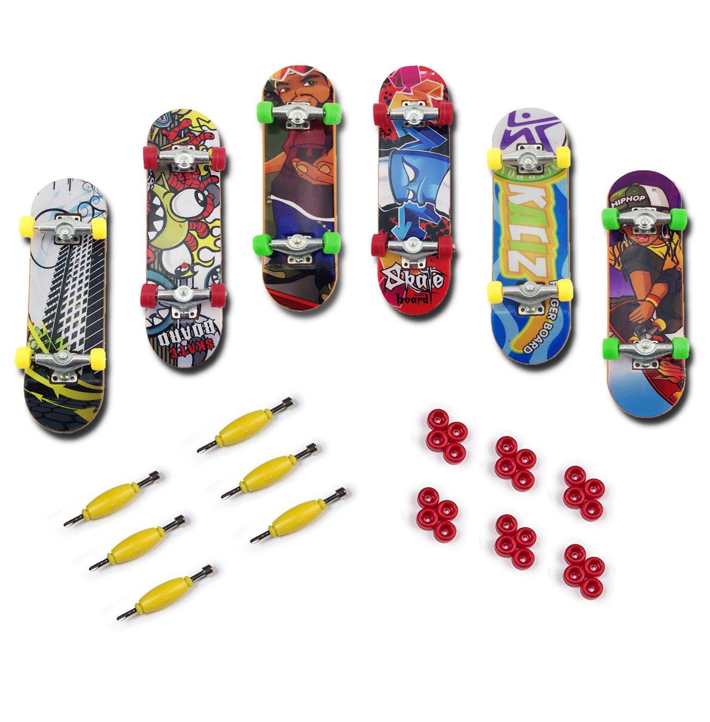 Oruuum 6Pcs Professional Mini Fingerboards Finger Skateboard Unique matte surface Random Pattern