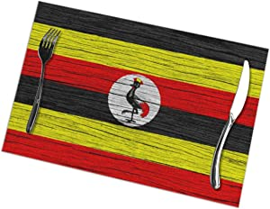 SHJXIAN Uganda Wooden Texture Ugandan Flag Themed Dinnerware 6 Piece Pc Set of Placemats Party Decor Dining Room Home Ornament Table Food Dishes Mat Kitchen Dishware Decorations 12x18