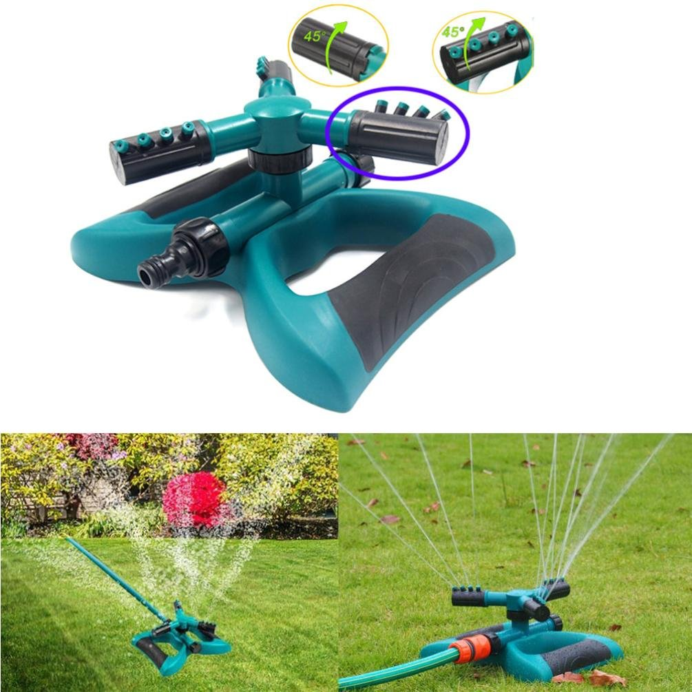 Anglewolf 360° Lawn Circle Rotating Water Sprinkler 3 Nozzle Garden Hose Irrigation Tool (24x9.5x19cm) Anglewolf_1564