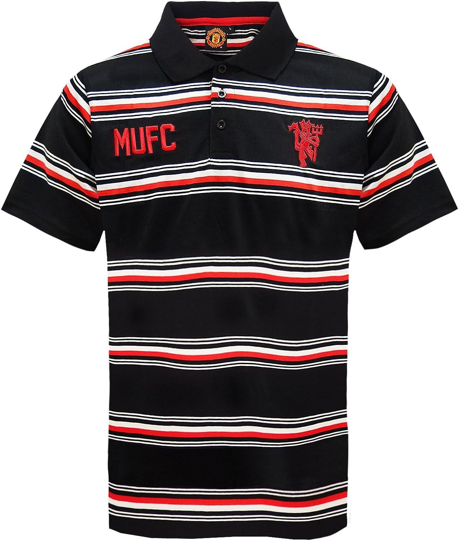 Manchester United FC - Polo oficial para hombre - A rayas - Negro ...