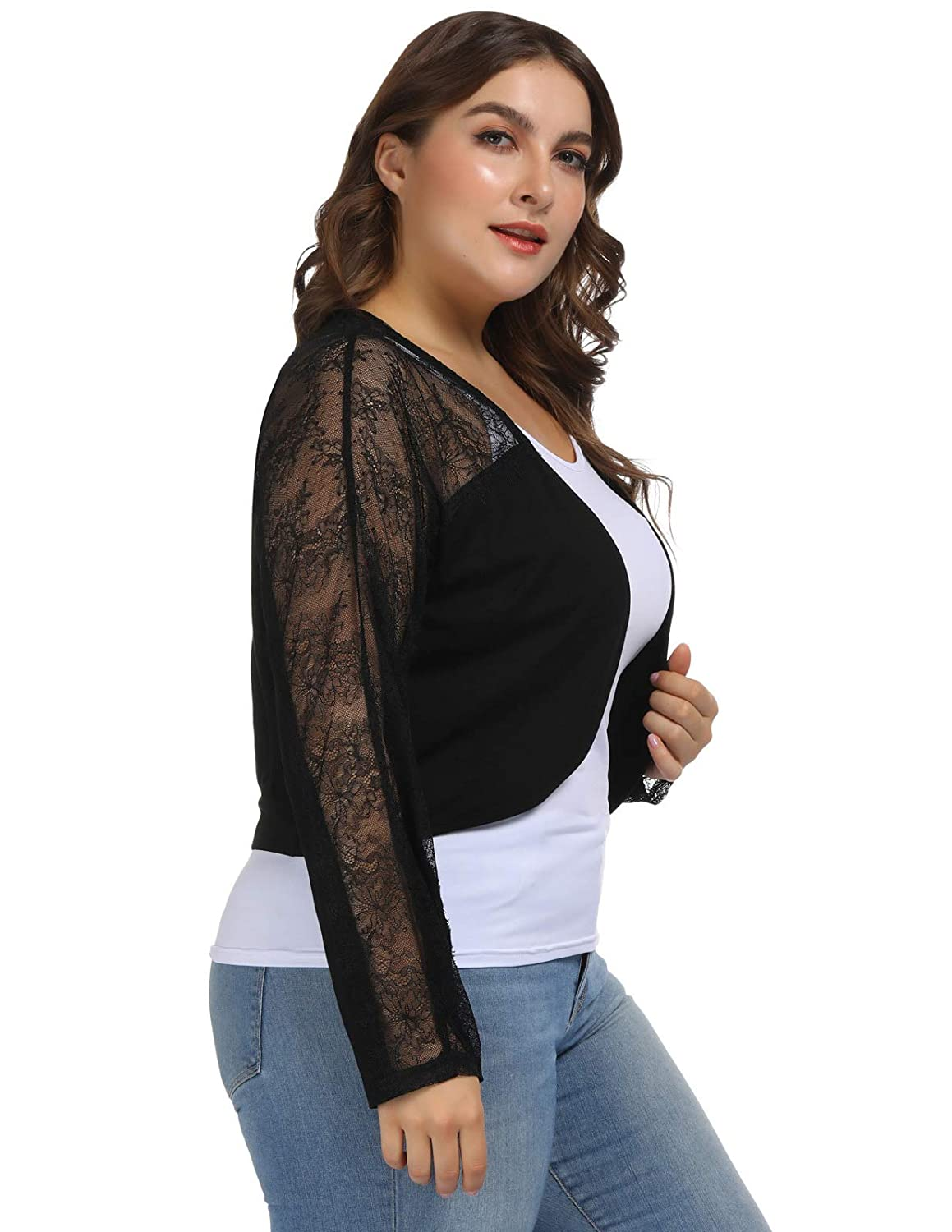 Womens Plus Size Cardigan Lace Bolero Shrugs for Wedding Evening Party Dresses