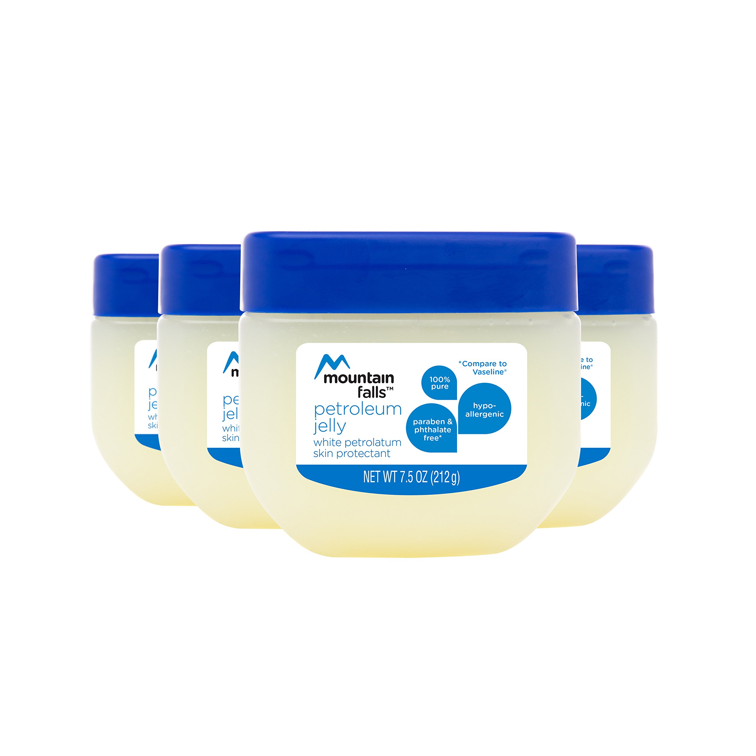 Mountain Falls Petroleum Jelly Skin Protectant, White Petrolatum, Compare to Vaseline, 7.5 Ounce (Pack of 4)