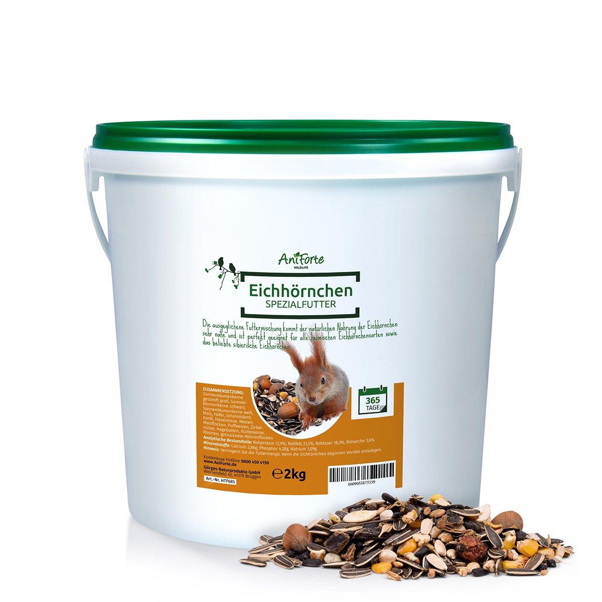AniForte Wildlife Premium Eichhörnchenfutter 2 kg für Eichhörnchen und Streifenhörnchen - Naturprodukt Mischung, besondere und artgerechte Eichhörnchen Fütterung - Unsere Spezial Futtermischung Görges Naturprodukte GmbH