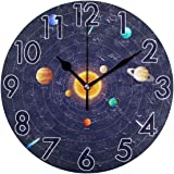 Chic Houses Space Science Clock Solar System Planet Bathroom Kitchen Wall Clock for Girl Boy Non Ticking Quiet Easy to…