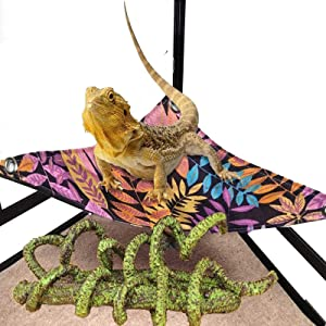 Branched Reptile Vine Decor, Hammock Lounger Ladder for Bearded Dragons, Thick Fabric with Suction Cup Hooks ,Jungle Climber Long Vines Habitat Decor for Bearded Dragons, Leopard Geckos, Lizard