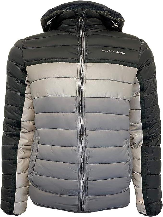 Winter Mens Jackets Crosshatch Coat Fur Hooded Bubble Padded Lined Zipper Parka