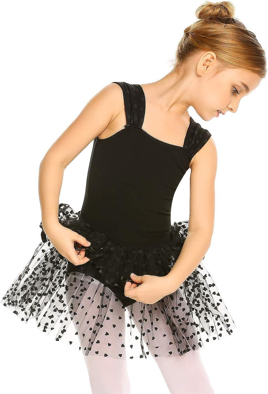 Zaclotre Girls Ballet Skirted Leotard with Chiffon Sequin Skirt Dance Dresses Short Sleeve