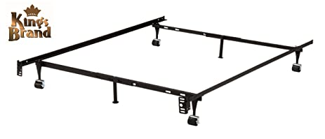 6 leg heavy duty metal queen size bed frame with rug rollers locking wheels - Metal Queen Size Bed Frame