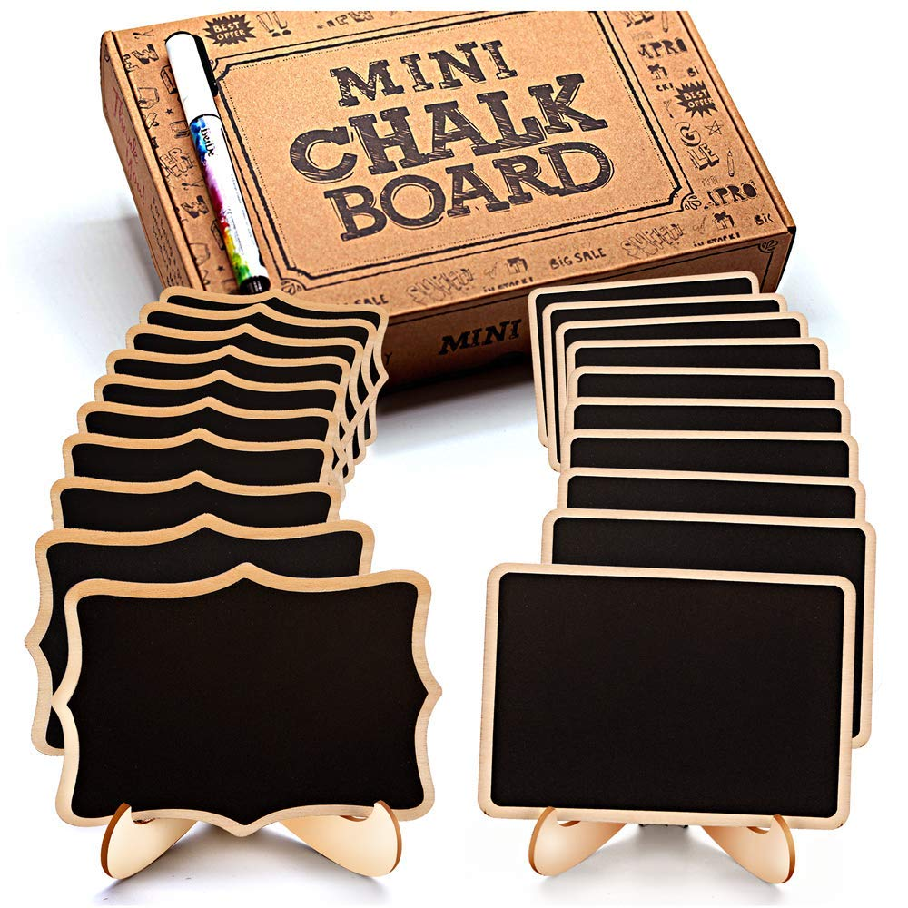 Mini Chalkboard Signs, 20 Pack Framed Small Chalkboard Labels with Easel Stand, Wooden Blackboard for Table Numbers, Food Signs, Wedding Signs, Message Board, Place Cards and Event Decorations by OleOletOy