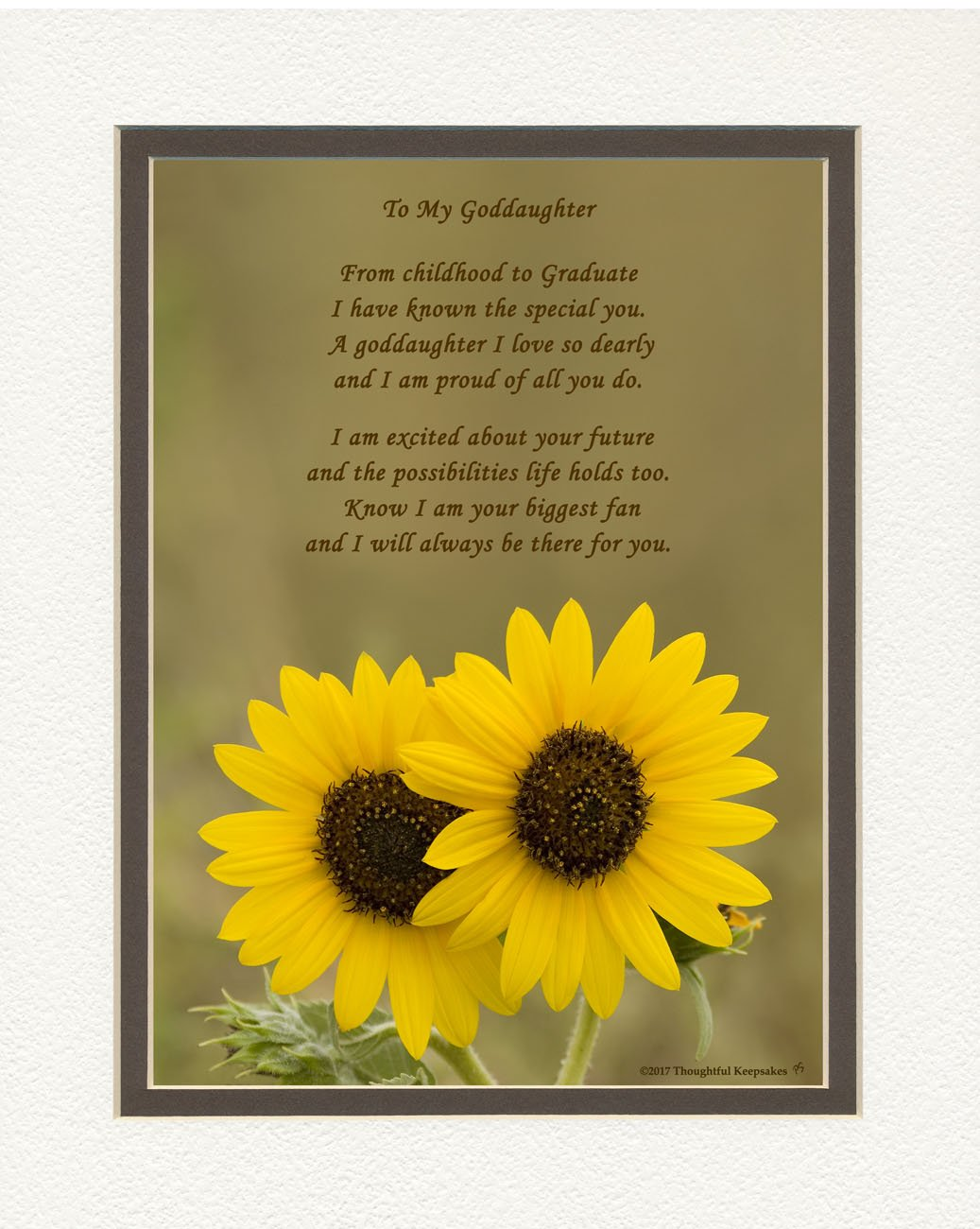 Graduation Gifts Goddaughter, Sunflowers Photo with From Childhood to Graduate Poem, 8x10 Double Matted. Special Keepsake for Goddaughter, Unique College - High School Grad Gifts