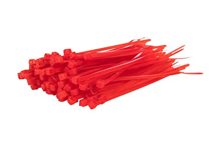 38e770647164 Image Unavailable. Image not available for. Colour: 100 Pack of Red Cable  Ties - 200mm x 4.8mm ...