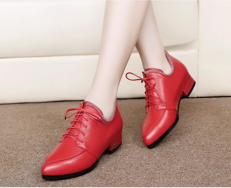Fuxitoggo Schuhe einfachen mit der Spitze Spitze Spitze mit Mund grob und Tiefe der ersten Klasse-Schuhe Leder (Farbe   Rot Größe   EU 40) 6fd19b