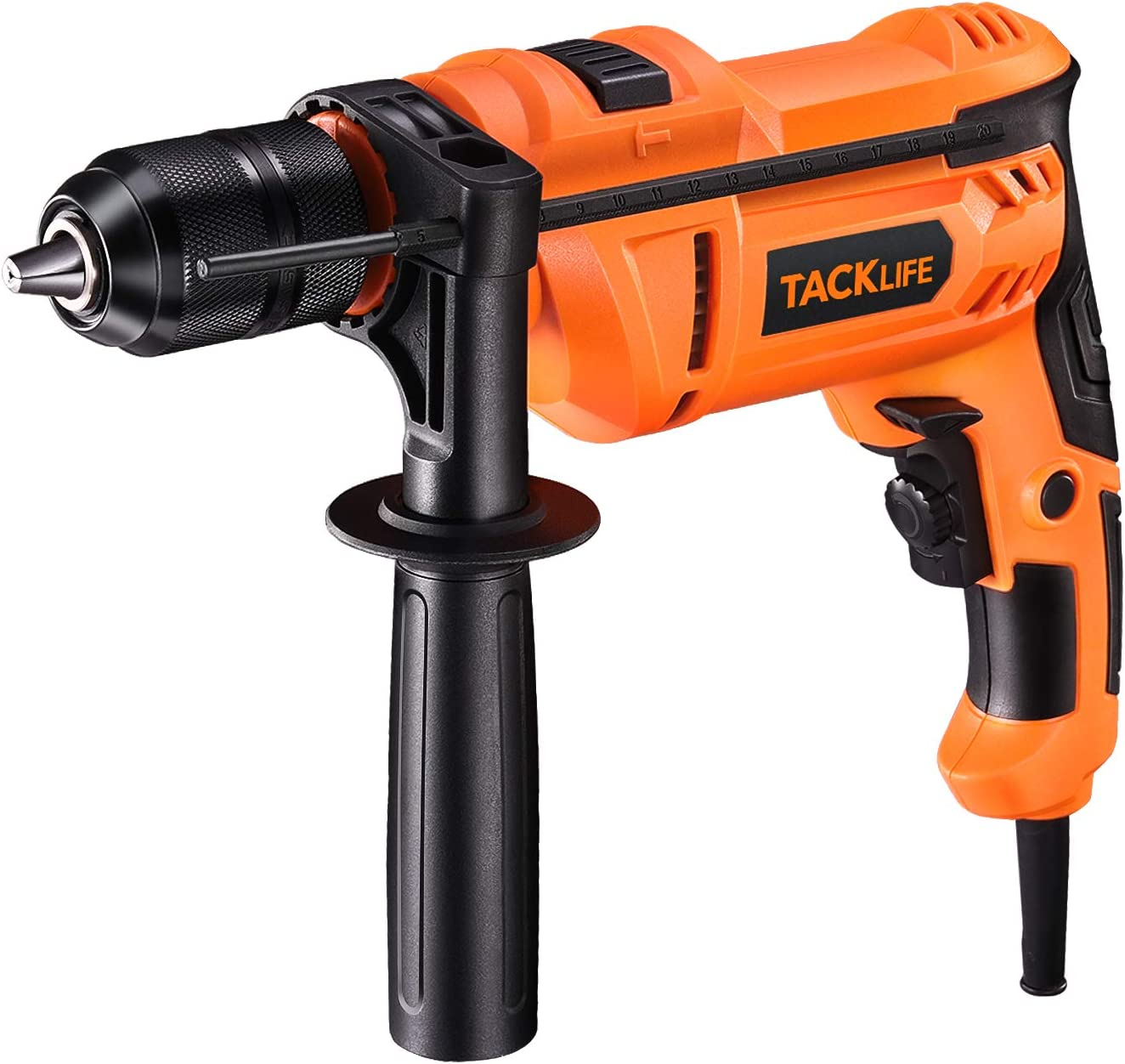 Hammer Drill, TACKLIFE 7.5Amp Corded Drill with 3000RPM, Variable Speed, 1.2/In. Keyless Chuck, Hammer & Drill 2 Mode in 1 for Brick, Steel, Concrete -PID05A