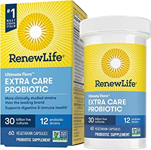 Renew Life Adult Probiotics 30 Billion CFU Guaranteed, 12 Strains, For Men & Women, Shelf Stable, Gluten Dairy & Soy Free, 60 Capsules, Ultimate Flora Extra Care