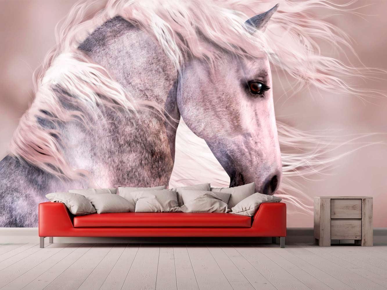 Fotomural Vinilo para Pared Caballo Blanco | Fotomural para Paredes | Mural | Vinilo Decorativo | Varias Medidas 200 x 150 cm | Decoración comedores, Salones, Habitaciones.