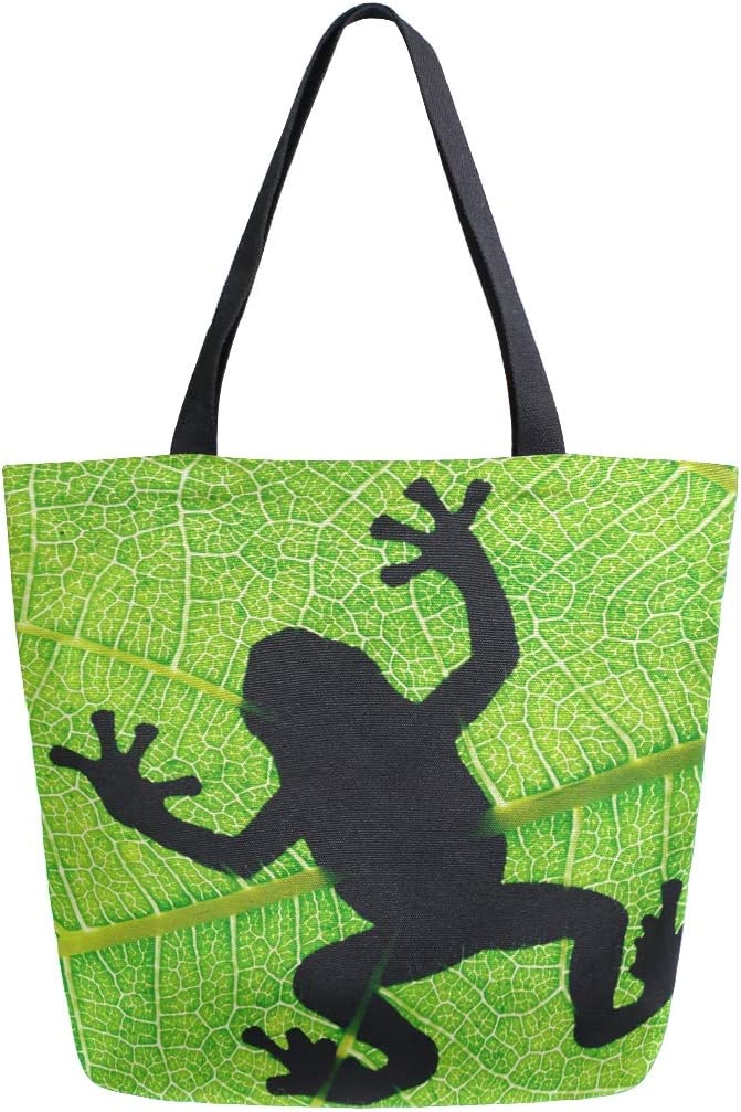 Naanle Animal Frog Canvas Tote Bag Large Women Casual Shoulder Bag Handbag, Frog Silhouette Reusable Multipurpose Heavy Duty Shopping Grocery Cotton Bag for Outdoors.