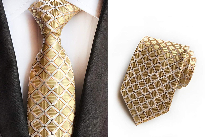 c9fc57d4d7d7 MENDENG Black Gold Striped Tie Woven Jacquard Silk Men's Suits Ties Necktie  at Amazon Men's Clothing store: