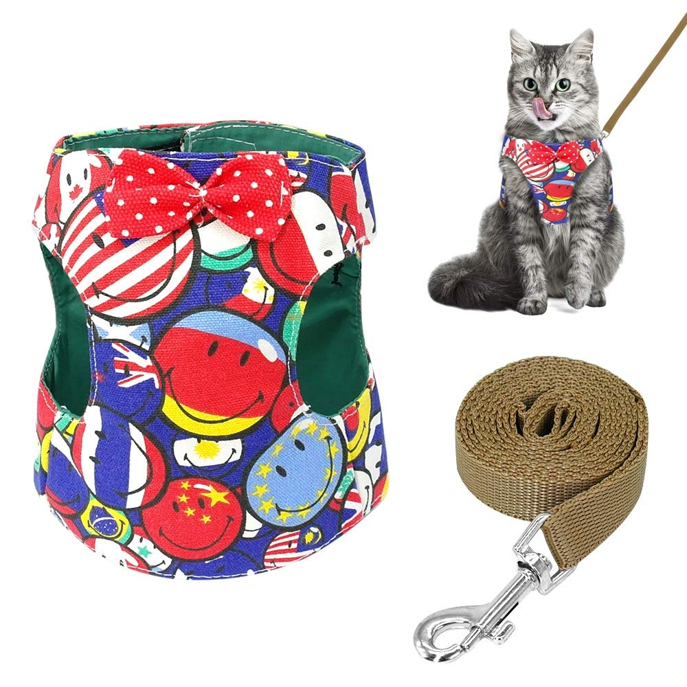 Stock Show Cat/Dog Walking Jackets Cat Harness Vest and Matching Lead Leash Set with Cute Bowtie, Detachable Leash Reteo British Style Hareness for Puppy Mediums Dogs Cats (m, Red Smile)