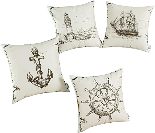 Lighthouse Sailing Throw Pillow Case Office Sofa Decor Cushion Cover Square 18/""