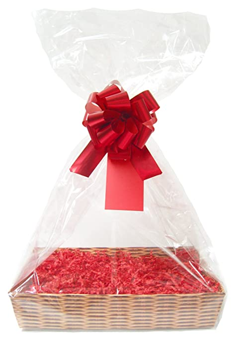 Red with Gold Star Christmas Cellophane Present Gift Present Hamper Wrap Film