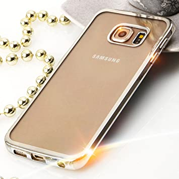 Beste4Handys Silicona TPU Cromo Case Carcasa para Samsung Galaxy S6 Edge sm-g925 Plata Metallic funda Back Case Transparente con Borde de Colores ...